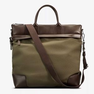 Shinola Detroit Olive Nylon Leather Travel Tote